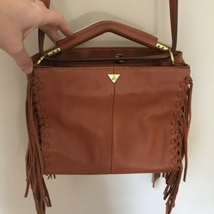 Sam Edelman Leather Zoey Fringe Satchel Cognac